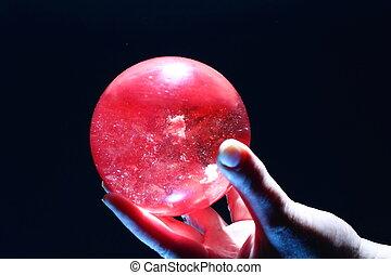 水晶, 球, 藏品, 女性, 手