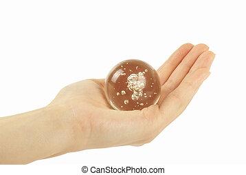 水晶, 球, 藏品, 背景, 手
