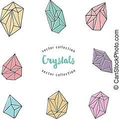 水晶, 要素, -, 手, 引かれる