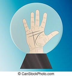 水晶, chiromancy, ボール, 手