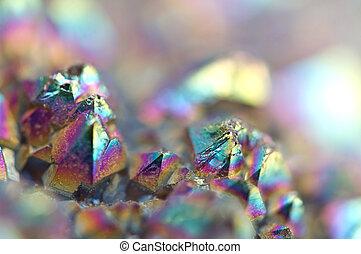水晶, multi-coloured, マクロ