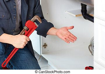 水暖工, 手, 由于, wrench.