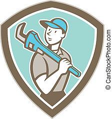 水暖工, 活动扳手, 握住, 卡通漫画, 盾