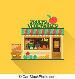 水果和蔬菜, 矢量, 商店