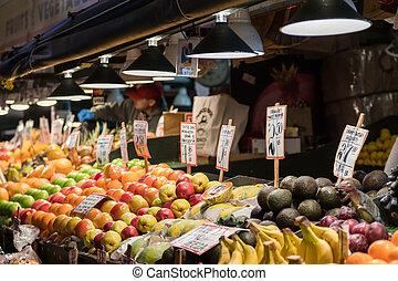 水果畜欄, 在, 派克 位置 市場, 在, seattle