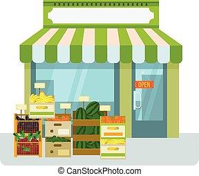 水果, 以及, 蔬菜, 商店