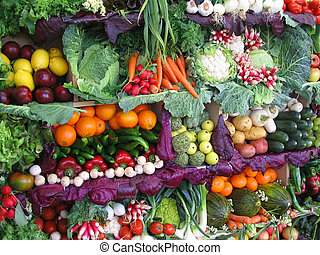 水果, 色彩丰富, 蔬菜