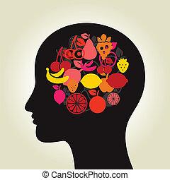 水果, a, 頭