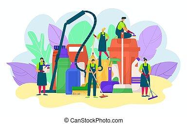 水桶, 设计, 打扫, business., 洗涤剂, 人们, 矢量, 海绵, 概念, illustration., 洗涤, 扫荡, 家庭, 服务