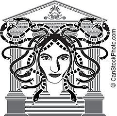 水母, gorgona, 寺廟, stencil