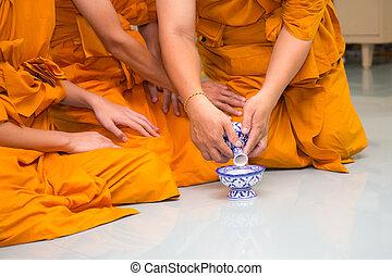 水水差し, 注ぎなさい, 修道士, 手