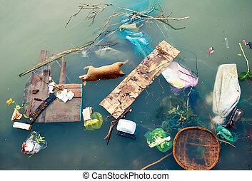 水污染, 带, 塑料, 垃圾, 同时,, 肮脏, 垃圾, 浪费