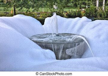水泉源, 建筑物, 浓肥皂水, 在中, hdr