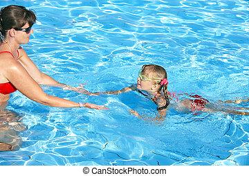 水泳の教官, 子供, 学びなさい, swim.