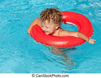 水泳, わずかしか, プール少年, リング, ゴム