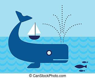 水泳, クジラ, 下に, 海洋