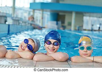 水泳, グループ, 子供, プール, 幸せ