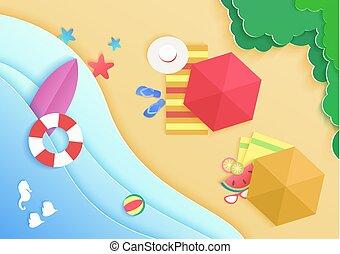 水泳, サーフボード, 傘, リング, banner., ドーナツ, 上, 休暇, サングラス, starfish., 浜, 概念, 背景, 漫画, 海洋, 帽子, 旅行, 海の 眺め