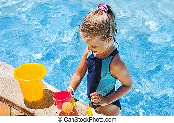 水泳, バケツ, pool., 子供