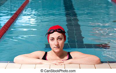 水泳, リラックスした, 女, pool., 若い