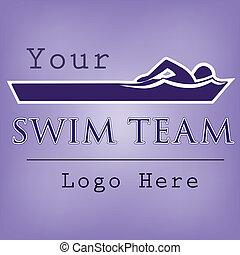 水泳, ロゴ, テンプレート, チーム