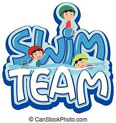 水泳, 壷, 単語, 3, デザイン, チーム, スイマー