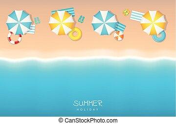 水泳, 夏, 傘, 観光客, 失敗, とんぼ返り, リング, 休日, 浜