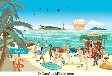 水泳, 夏, 灯台, 浜。, バー, illustration., バーテンダー, 島, プレーしなさい, 平ら,...