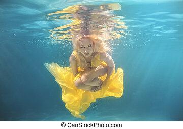 水泳, 女, underwater., プール