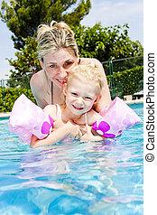 水泳, 娘, プール, 彼女, 母