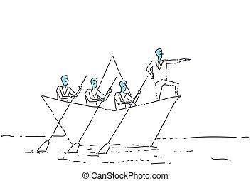 水泳, 概念, ビジネス 人々, 先導, ペーパー, チームワーク, リーダーシップ, チーム, ビジネスマン, ボート