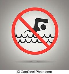 水泳, 水泳, dont, シンボル, 交差させる, 円, から, 赤, 人