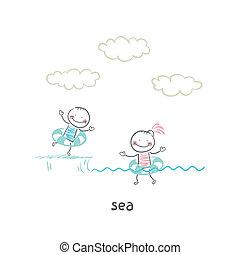 水泳, 海