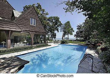 水泳, 湖, プール, 光景