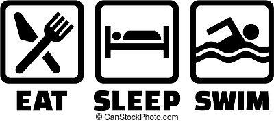 水泳, 睡眠, 食べなさい, アイコン