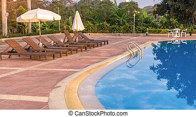 水泳, 贅沢, プール, 朝