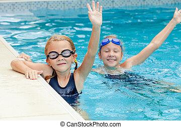 水泳, 遊び, 女の子, プール, 幸せ, 2