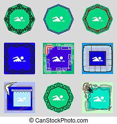 水泳, buttons., セット, wave., シンボル。, 印, ベクトル, 海, icon., カラフルである, プール, 水泳
