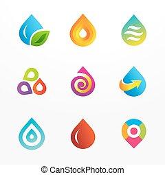 水滴, シンボル, ロゴ, セット, アイコン, ベクトル