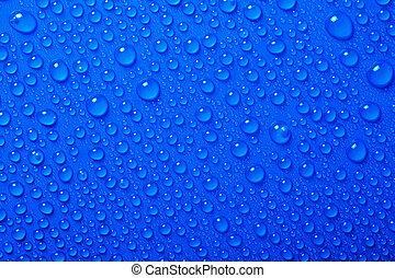 水滴, 上に, 青い背景