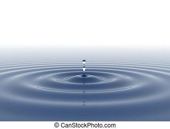 水滴, 青い背景, 白