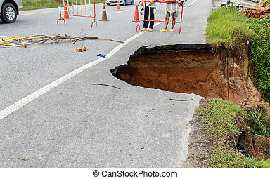 水腐食, 崩壊, 道, 状態, road.