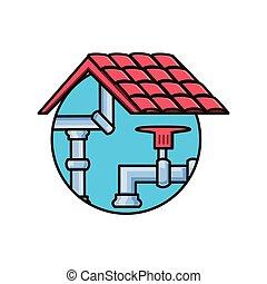 水蛇口, 隔離された, 屋根, アイコン