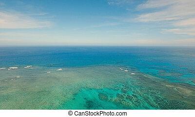 水表面, 航空写真, view.siargao, 島, フィリピン。
