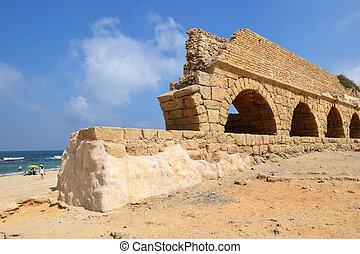 水路, ceasarea, イスラエル, 古代ローマ