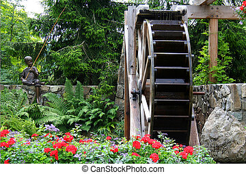 水車, 在, a, 花園
