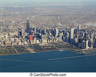 水辺地帯, 光景, 航空写真, シカゴ