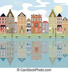 水辺地帯, 都市の景観, relection