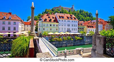 水辺地帯, 都市, 川, 建築, ljubljana