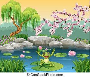 水, かわいい, 跳躍, ユリ, カエル